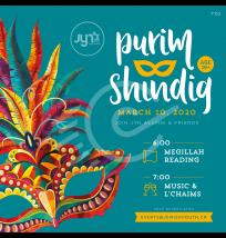 Purim Shindig Social Media Post